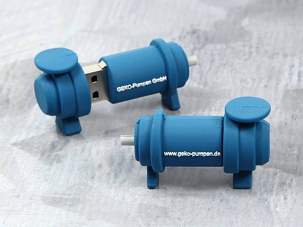 usb stick pumpe blau individuell logo weiss