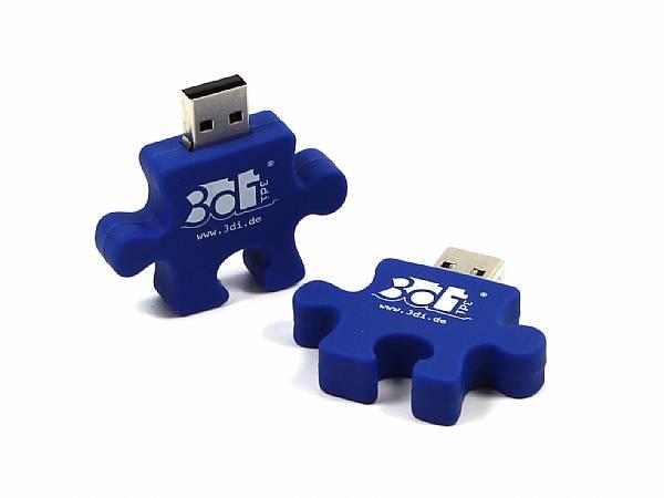 usb stick puzzle werbegeschenk blau logo weiss