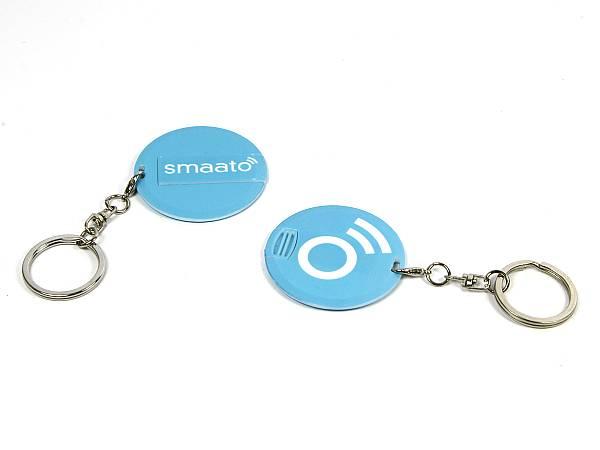 usb stick rund anhänger ring logo blau schlüsselanhänger aufdruck