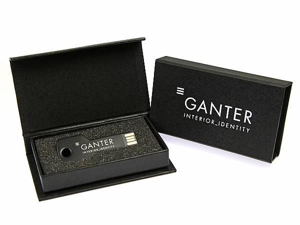usb stick schluessel schwarz logo weiss box verpackung geschenkset edel