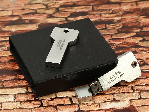 usb stick schluessel silber metall edel verpackung box schwarz
