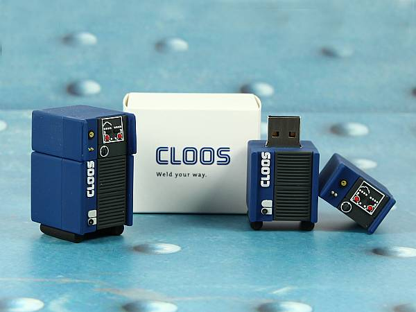usb stick schweissgerät roboter cloos blau logo verpackung