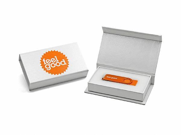 usb stick twister buegel schwingen orange verpackung weiss