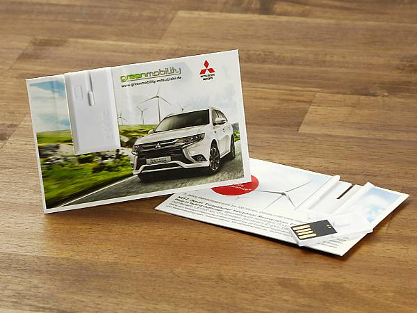 usb stick visitenkarte papier logo auto mitsubishi green mobility oeko