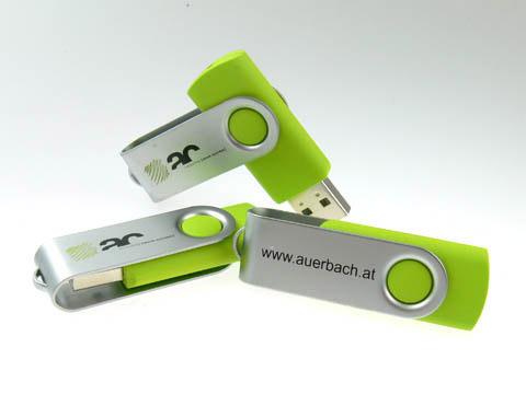 USB-Stick bedruckter Buegel Auerbach, Metall.01