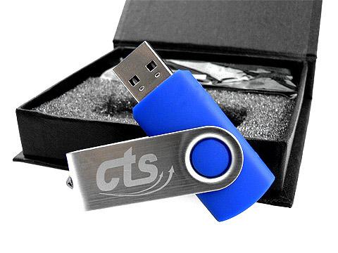 USB-Stick cts blau drehbar metall lasergravur, Metall.01