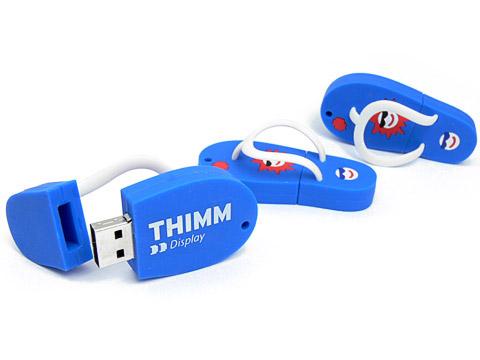 USB-Stick flip-flop individuell blau mit-Logo, USB-Flip-Flop