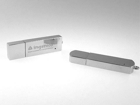 usb-stick glanz lasergravur ingenico, Metall.04