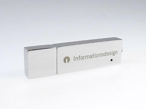 usb-stick hochglanz edel lasergravur informationsdesign, Metall.04