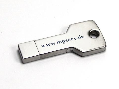USB-Stick Key Schluessel-01 silber metall, deckel, USB-Key.01