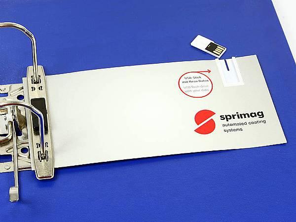 USB Stick Mailing Card Karte logo gelocht Archiv bedruckt sprimag daten