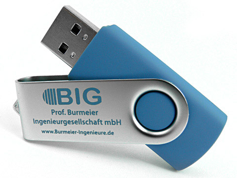 USB-Stick Metall.01 blau mit Aufdruck, Metall.01