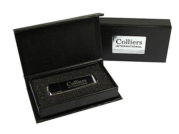 USB-Stick Verpackung Colliers mit Silber prägung GEschenkbox klappbox