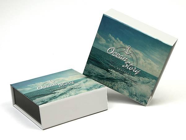 verpackung box individuell werbung geschenk logo weiss schmuck armband maritim