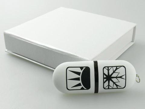 Weisser Kunststoff-USB-Stick aufdruck Logo, Kunststoff.03