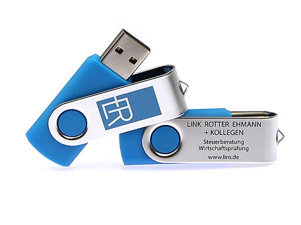CI Farben Hausfarbe bedruckt Twister USB bedruckt Werbeartikel