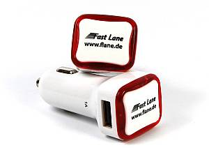 Dual Car Charger Rectangle mit Logo als Werbeartikel