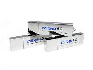 USB Stick aus Metall, hochglänzendes Modell, edler Werbeartikel