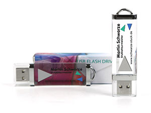 USB-Stick Crystal mit Logo bedruckbar. Jetzt günstigen Crystal mit Firmenlogo bedrucken.