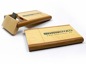 USB Stick Karte extra groß, aus Holz mit Logo