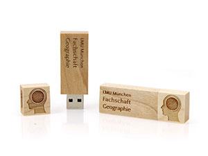 USB Stick aus Holz mit Firmenlogo als Werbegeschenk