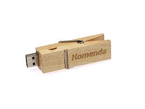 USB Stick Wäscheklammer aus Holz mit Logo