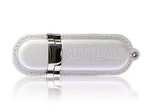 Edler USB-Stick aus Leder, weißes Leder mit Aufdruck als Werbegeschenk