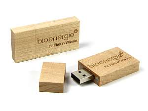 Hochwertiger USB Stick aus Holz, edler Holz Stick mit Ihrem Logo