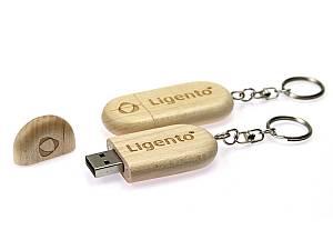 USB Stick aus Holz mit Schlüsselanhänger, Holzstick, USB Stick aus Holz