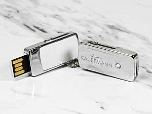 Edler Mini USB Stick aus Metall, Swarovki-Stein