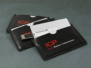Elegante Lederhülle für USB Karten, mit Ihrem Logo bedruckbar