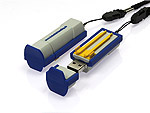 USB Stick, Lifter, pvc, grau, blau